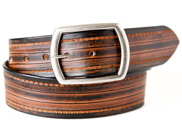 "Handmade Leather Belt-""Tread Herring"" (1.75"")"