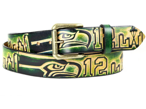 "Handmade Leather Belt-""Seattle Seahawks"""