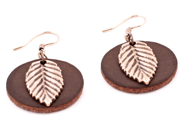 "Handmade ""Copper Leaves"" Leather Earrings"