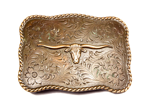 ''Antiqued Longhorn'' Theme Belt Buckle
