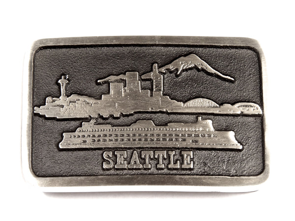 "Handmade ""Seattle Public Market"" Belt Buckle"