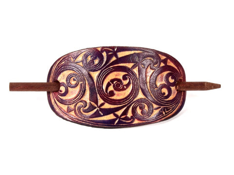 "Handmade ""Gaelic"" Leather Hair Barrette"