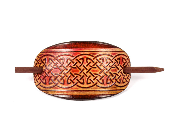 "Handmade ""Celtic Lattice"" Leather Hair Barrette"