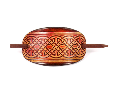 Celtic Lattice Leather Hair Barrette