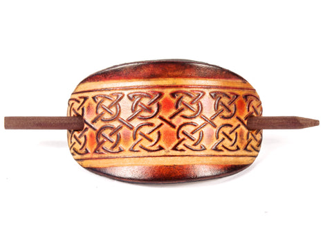 Celtic Circles Leather Hair Barrette