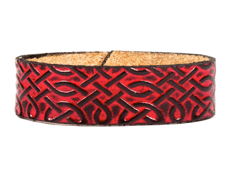 "Handmade Leather Wristband-""Celtic Interlace"""