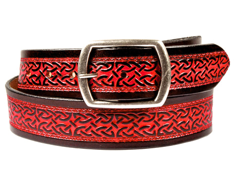 "Handmade Leather Belt-""Celtic Scroll"" (1.75"")"