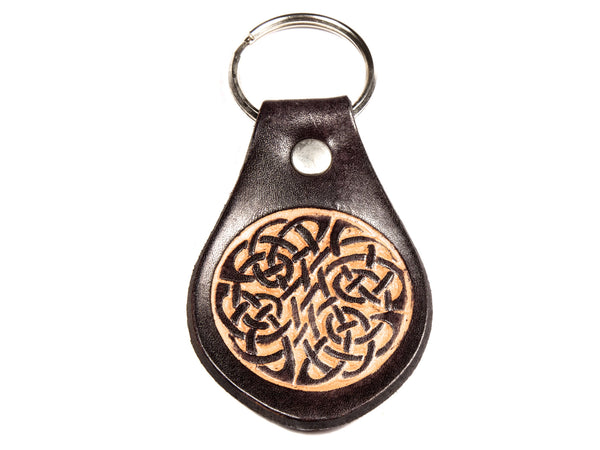 Celtic Crest Leather Keychain
