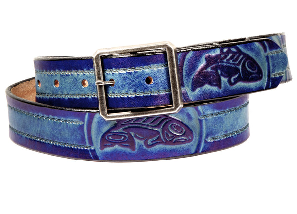 "Handmade Leather Belt-""Tlingit Salmon"""