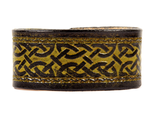 "Handmade Leather Wristband-""Celtic Interlace Framed"""