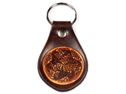 "Handmade ""Celtic Colts"" Leather Key Chain"