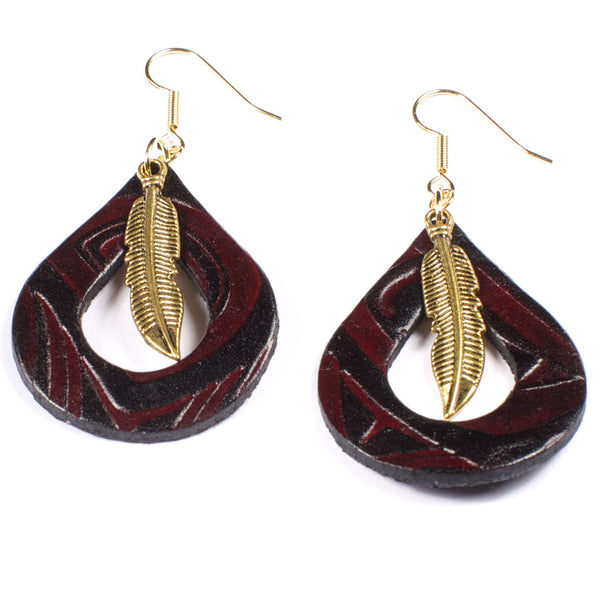 "Handmade ""Fin & Feather"" Leather Earrings"