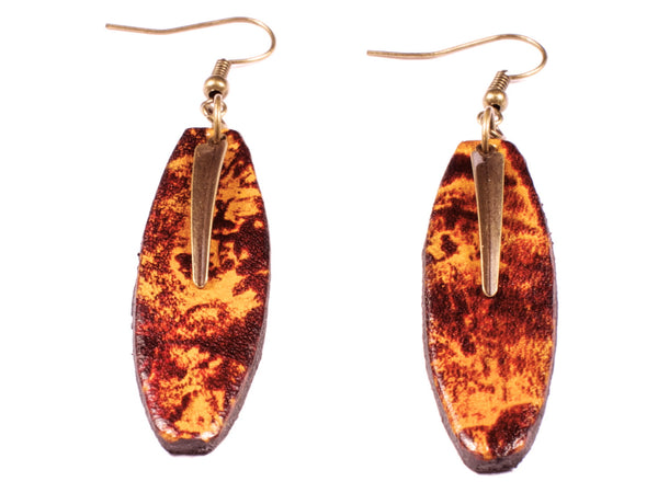 "Handmande ""Glowing Embers"" Leather Earrings"