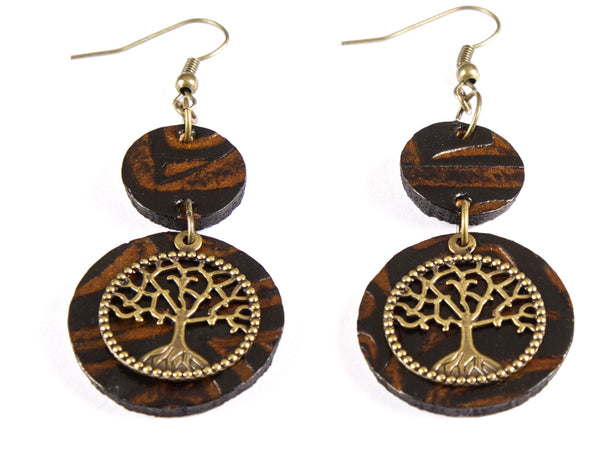 "Handmade ""Arbol de la Vida "" Leather Earrings"