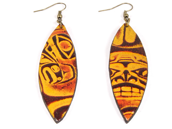 "Handmade ""Totem"" Leather Earrings"