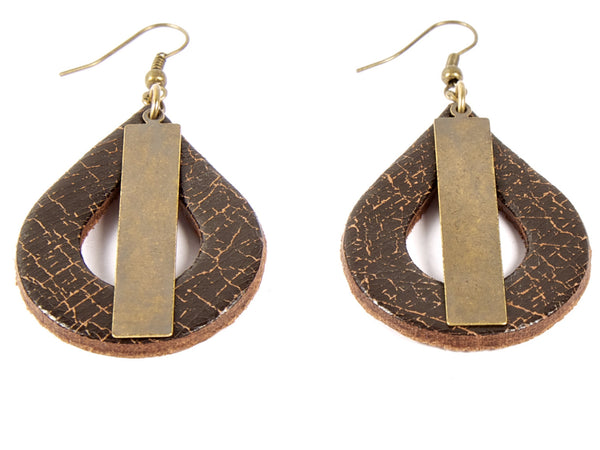 "Handmade ""Falling-Drop"" Leather Earrings"