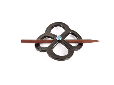 Accented Endless-Knot Leather Hair Barrette