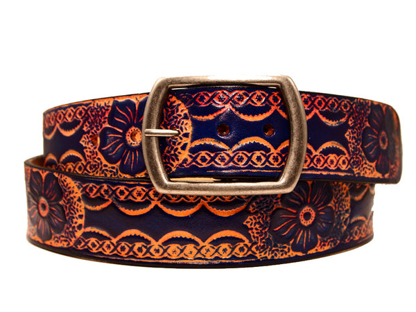 "Handmade Leather Belt-""Berry Floral"" (1.75'')"