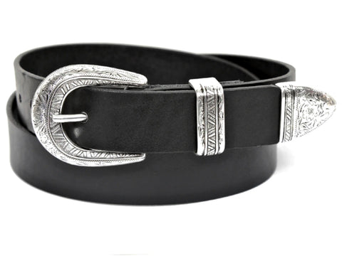 "Handmade Leather Belt and 3-Piece-Buckle-Set ""1.25 Black Belt with Silver Graphic Buckle''"