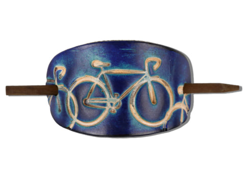 Bicycle Leather Hair Barrette