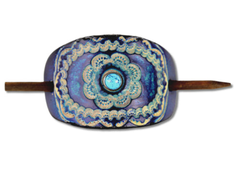 Accented Floral Mandala Leather Hair Barrette