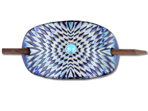 Accented Psychedelic Symmetry Leather Hair Barrette