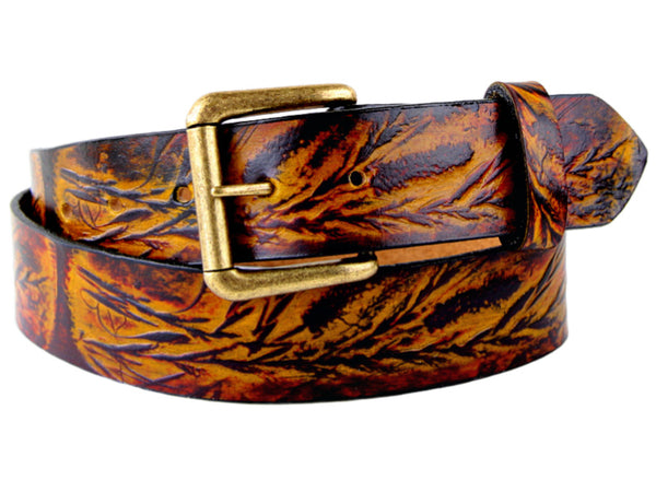 "Handmade Leather Belt-""Wild Grass"""