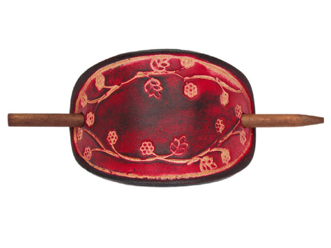 Blooming Vine Leather Hair Barrette - Ruby