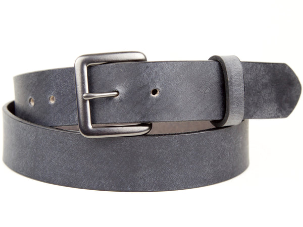 "Handmade Leather Snap On Belt - ""Slate Gray"""