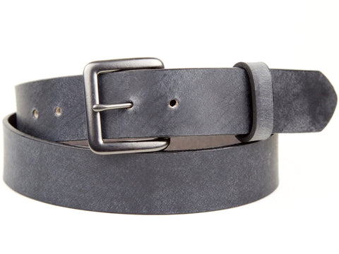 "Handmade Leather Snap On Belt-""Slate Grey"""