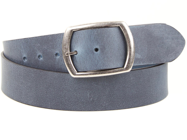 "Wide Handmade Leather Belt - ""Dancing in Denim"""