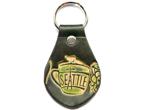 Handmade Cup of Joe Leather Keychain
