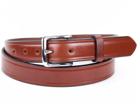 Handmade Chestnut Brown Bridle Leather Dress Belt