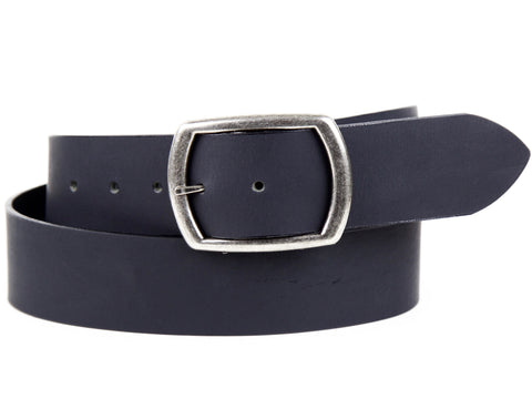 "Handmade Wide Leather Snap Belt-""Matte Black"" (1.75"")"