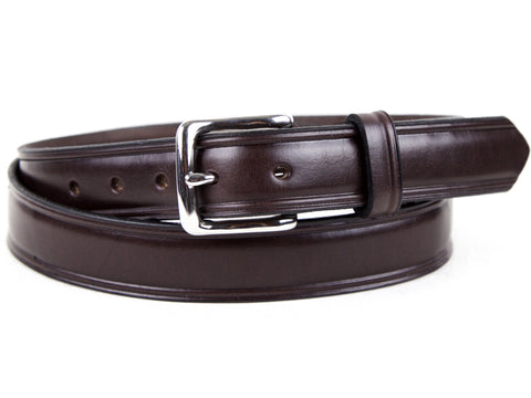 Handmade Chocolate Brown Bridle Leather Dress Belt