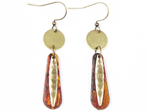 "Handmade ""Amber"" Leather Earrings"