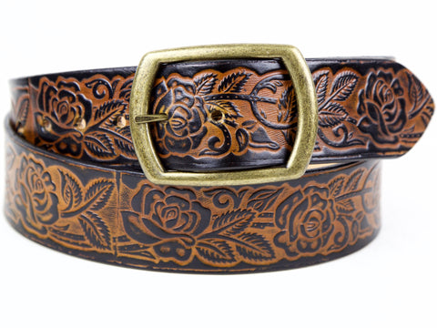 Rose Garden Wide Leather Belt