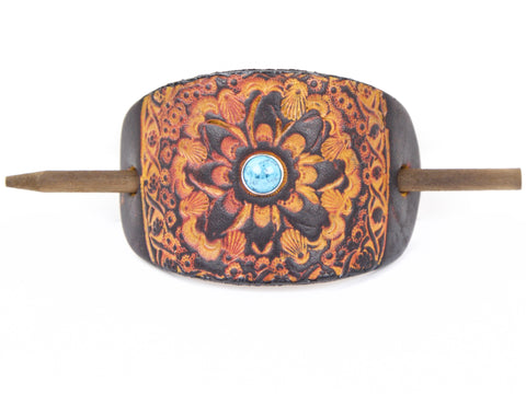 Accented La Tierra Leather Hair Barrette