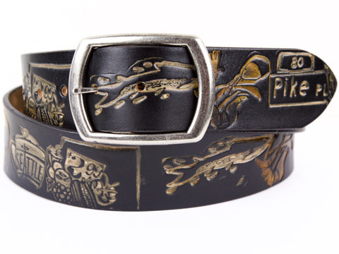 "Handmade Leather Belt-""Pike Place Market Tribute"" (1.75"")"