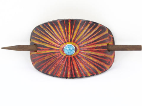 Accented Sunburst Leather Hair Barrette