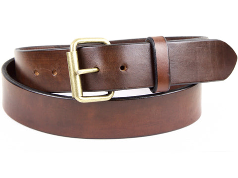 "Handmade Leather Belt -""Heavy Duty Brown"""