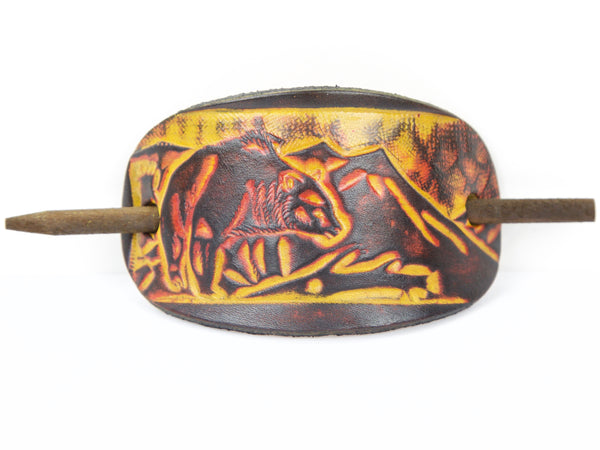 "Handmade ""Mama Bear"" Women's Leather Hair Barrette (large)"