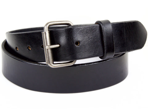 "Handmade Leather Belt -""Heavy Duty Black"""