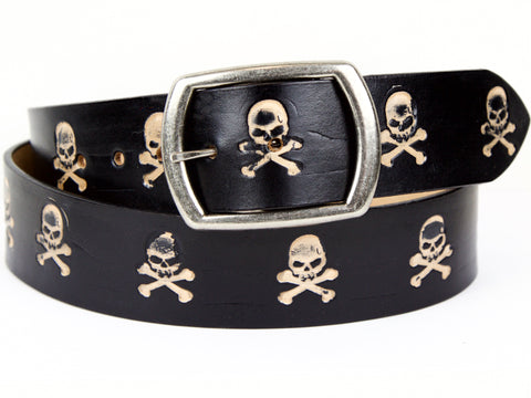 "Handmade Leather Belt-""Skulls"" (1.75"")"