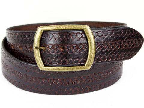 "Handmade Leather Belt-""Rope"" (1.75"")"