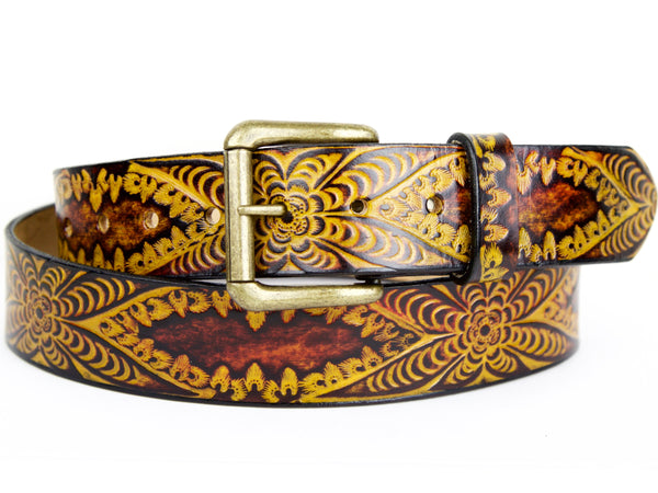 "Handmade Leather Belt-""Good Karma"""
