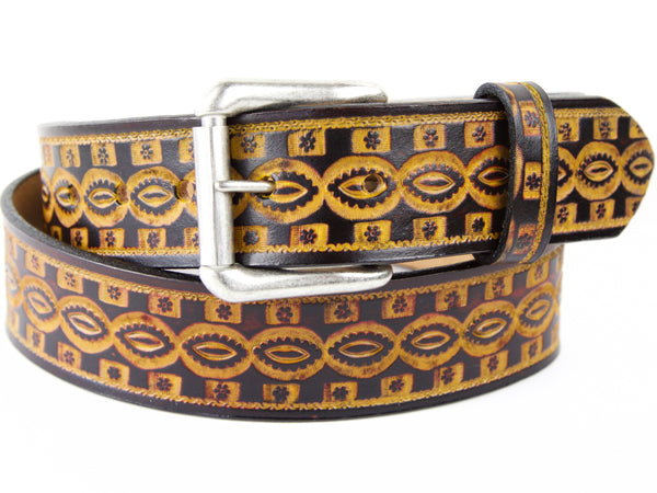 "Handmade Leather Belt-""Kaleidoscope Eyes"""