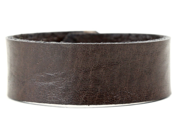 "Handmade Leather Wristband-""Brown Pebble Grain"""