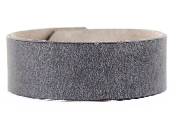 "Handmade Leather Wristband-""Slate Grey"""