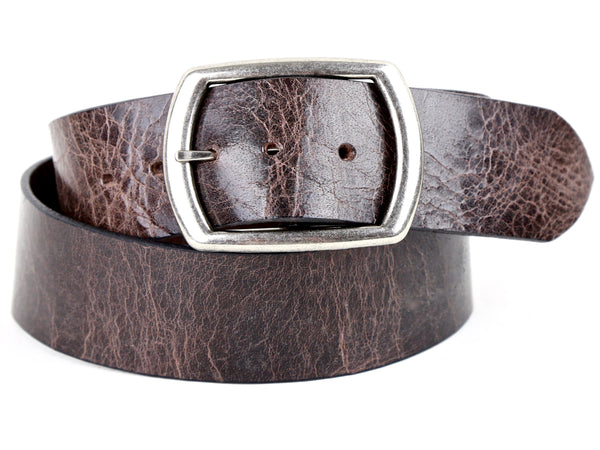 "Handmade Wide Leather Snap Belt-""Distressed Brown"" (1.75"")"